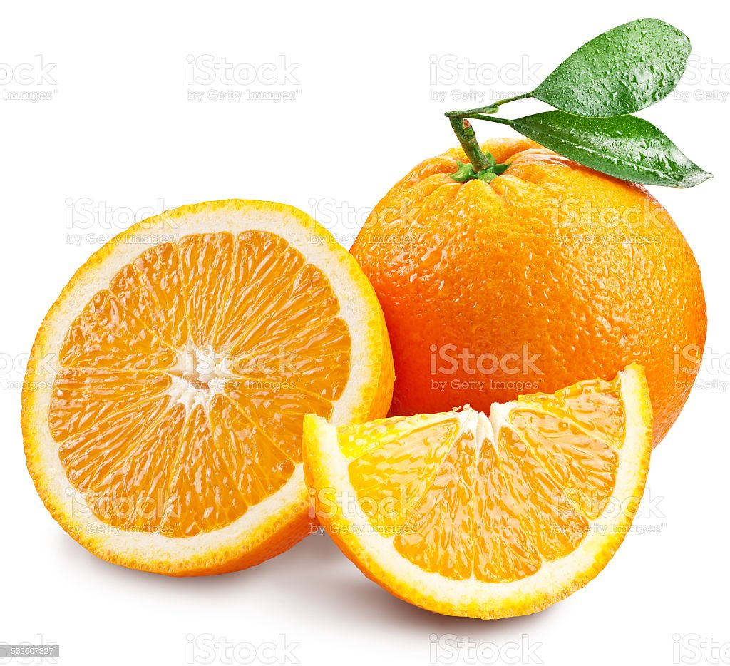 Oranges with slice and leaves . stock photo