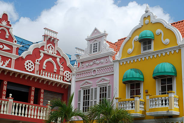 oranjestad architecture, aruba - aruba stockfoto's en -beelden