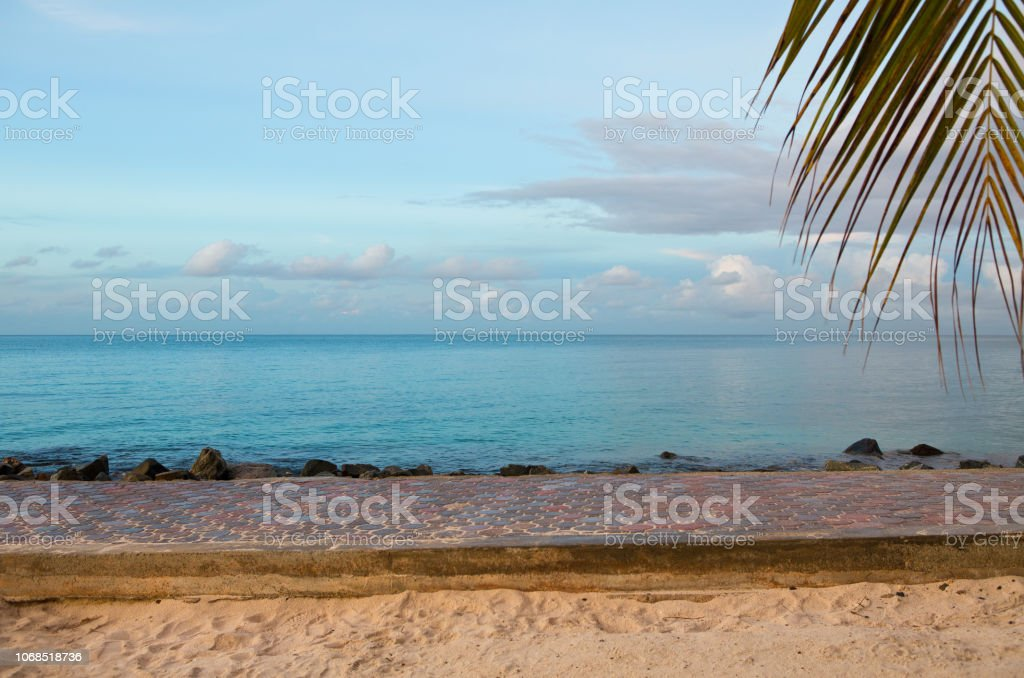 Oranjestad Aruba promenade with palm trees stock photo