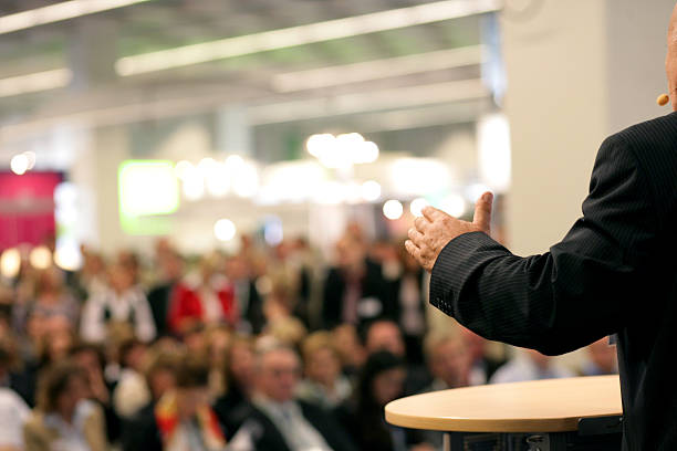 orator in public stock photo