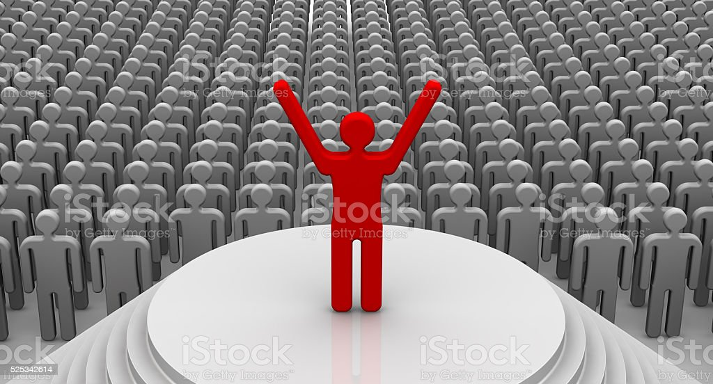 Orator speaks before an audience stock photo