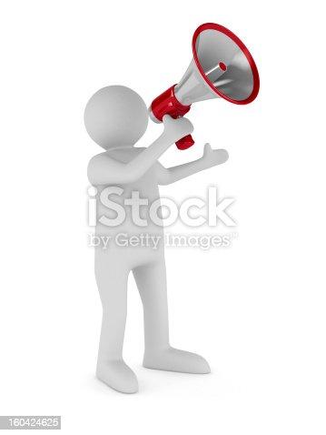 istock orator speaks in megaphone. Isolated 3D image 160424625