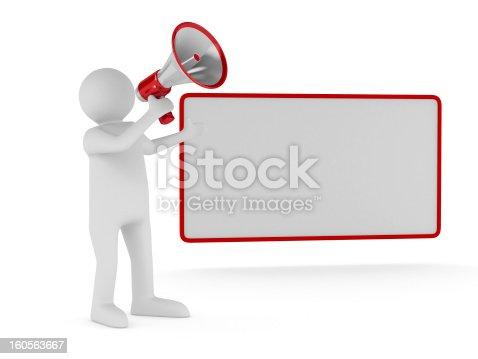 istock orator speaks in megaphone. Isolated 3D image 160563667