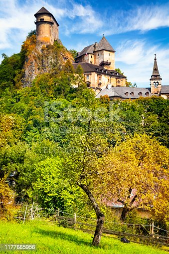 Orava Podzamok, Slovakia- August 17, 2019: Orava Castle is situated on a high rock above Orava river in the village of Oravský Podzámok, Slovakia. The castle was built in the Kingdom of Hungary in the thirteenth century
