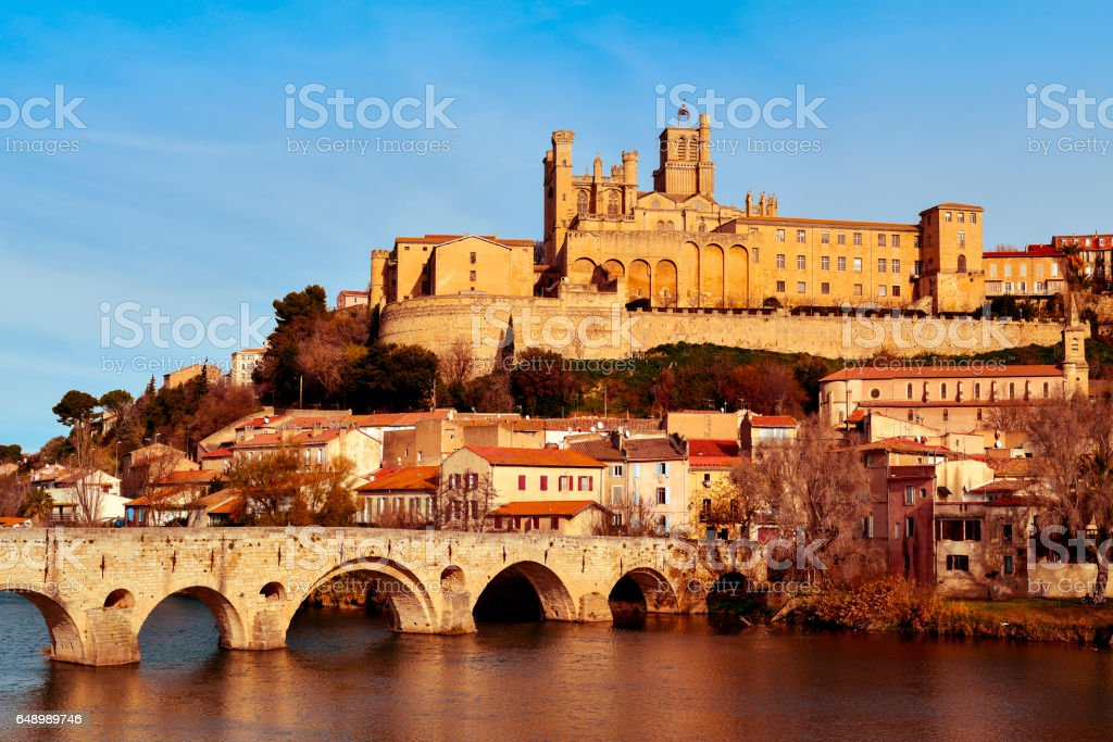 Orb River and Old Town of Beziers, France stock photo