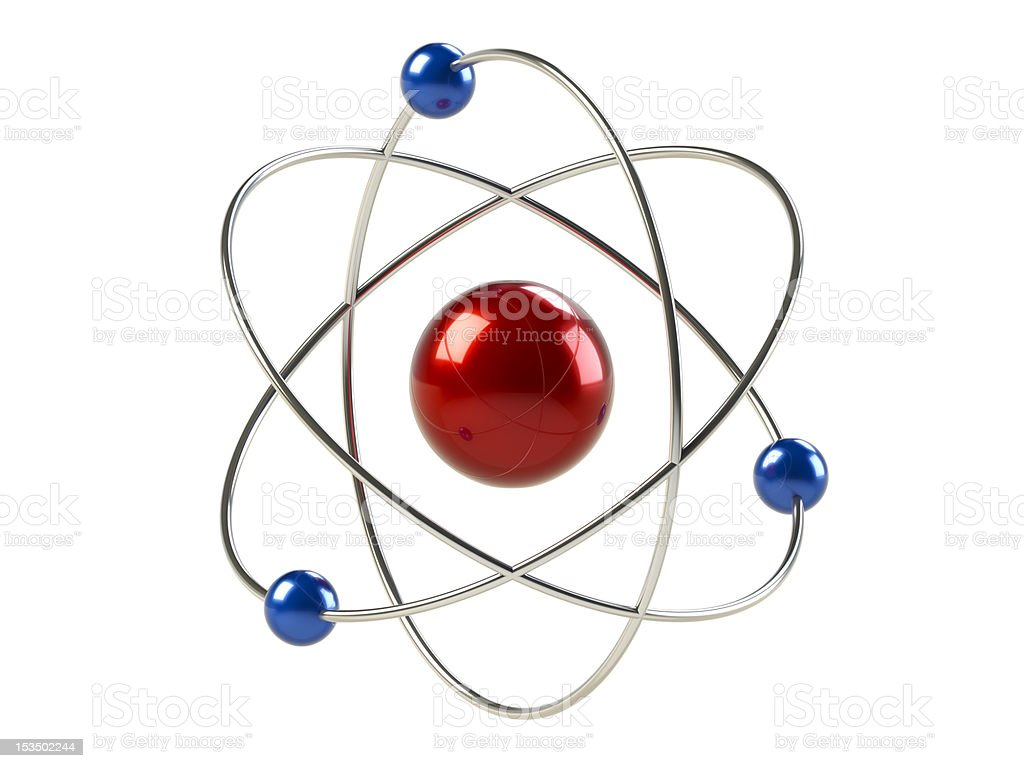 Orbital model of atom stock photo