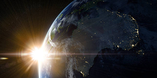 orbital view on earth from space - space and astronomy stock photos and pictures