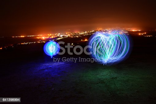 istock Orbs, Trails and Town Lights. 641398994