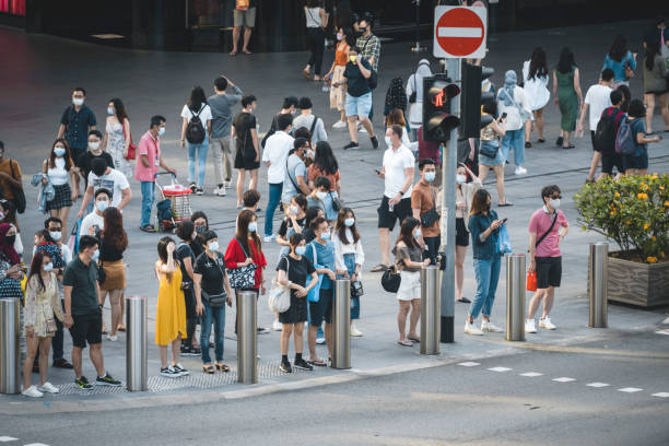 Orchard Road crossing in Singapore stock photo