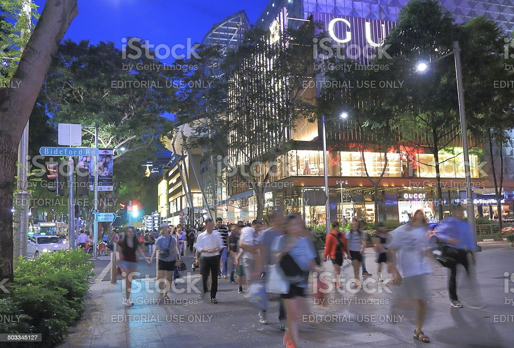 Orchard Road Singapore by night stock photo