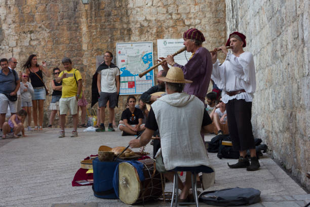 Orchestra at the entrance of Dubrovnik city walls stock photo
