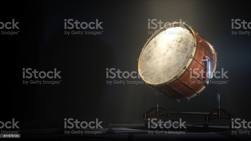 Orchestra Big drum on dark myst background. 3D rendering stock photo