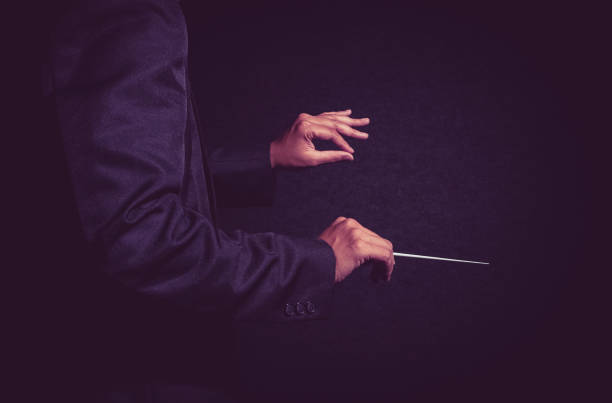 orchestra conductor hands, musician director holding stick on dark background - transport conductor stock photos and pictures