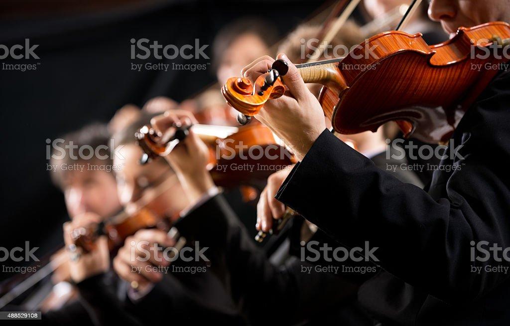 Orchester Abschnitt ersten Violine - Lizenzfrei 2015 Stock-Foto