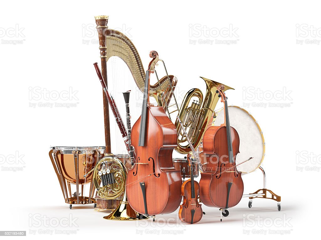 Orchestra musical instruments isolated on white 3D rendering stock photo