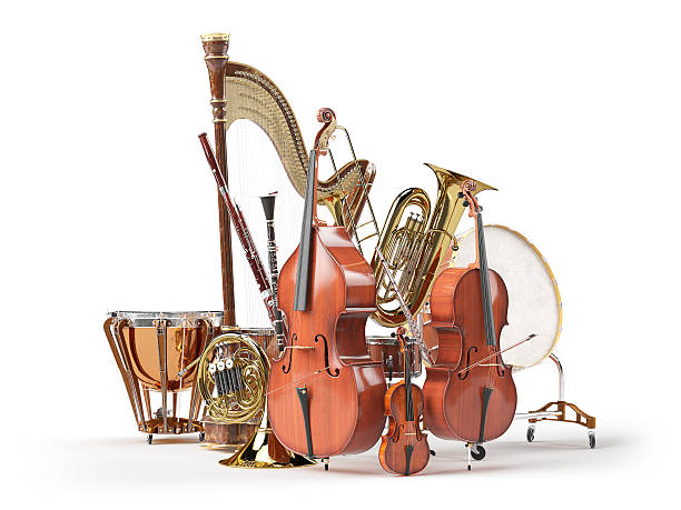orchestra musical instruments isolated on white 3d rendering - musical instrument stock photos and pictures
