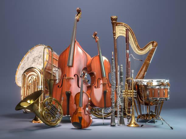 orkiestra instrumentów muzycznych na szarym tle. renderowanie 3d - instrument muzyczny zdjęcia i obrazy z banku zdjęć