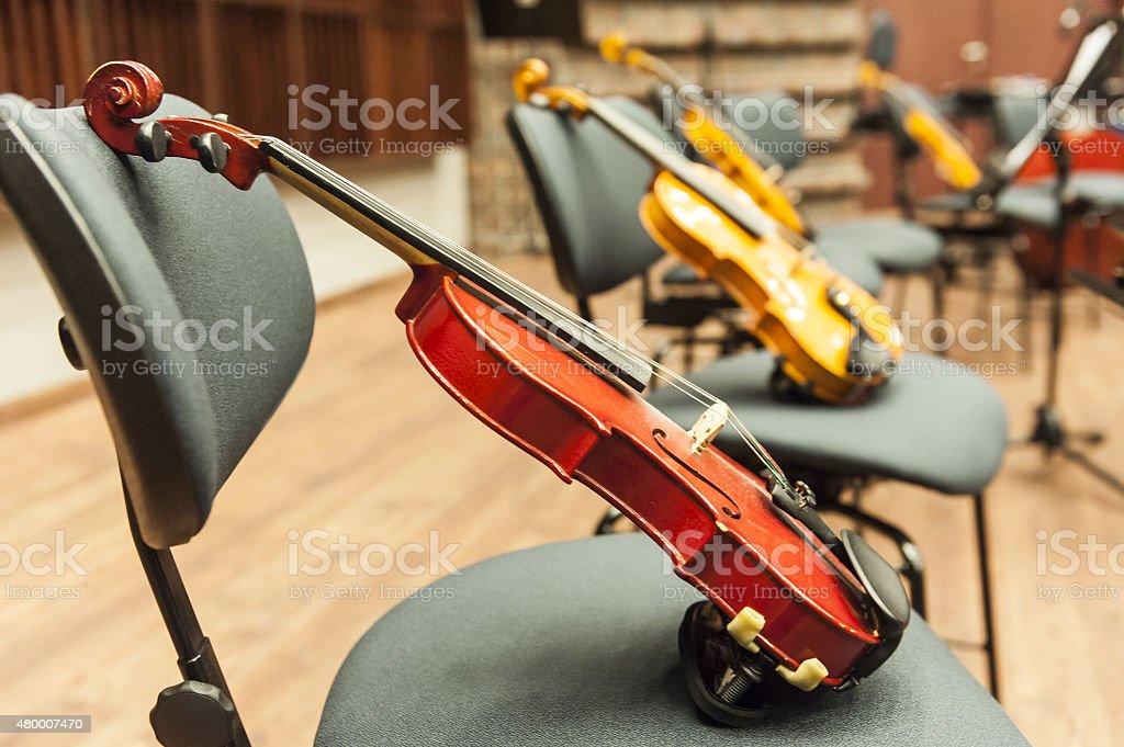 Orchestra rehearsal stock photo
