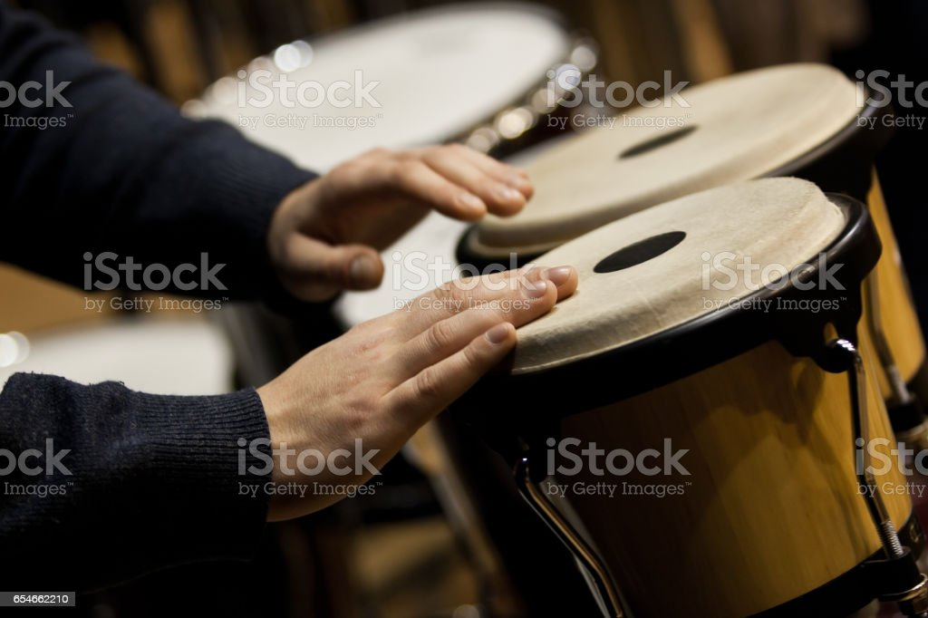 Orchestral bongos closeup stock photo