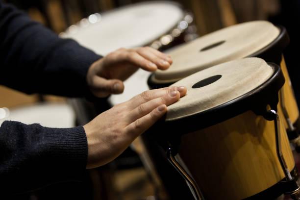 Orchestral bongos closeup stock photo