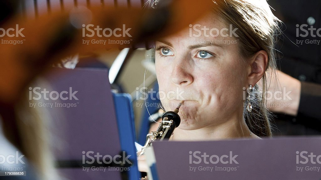 Orchestral oboe player stock photo