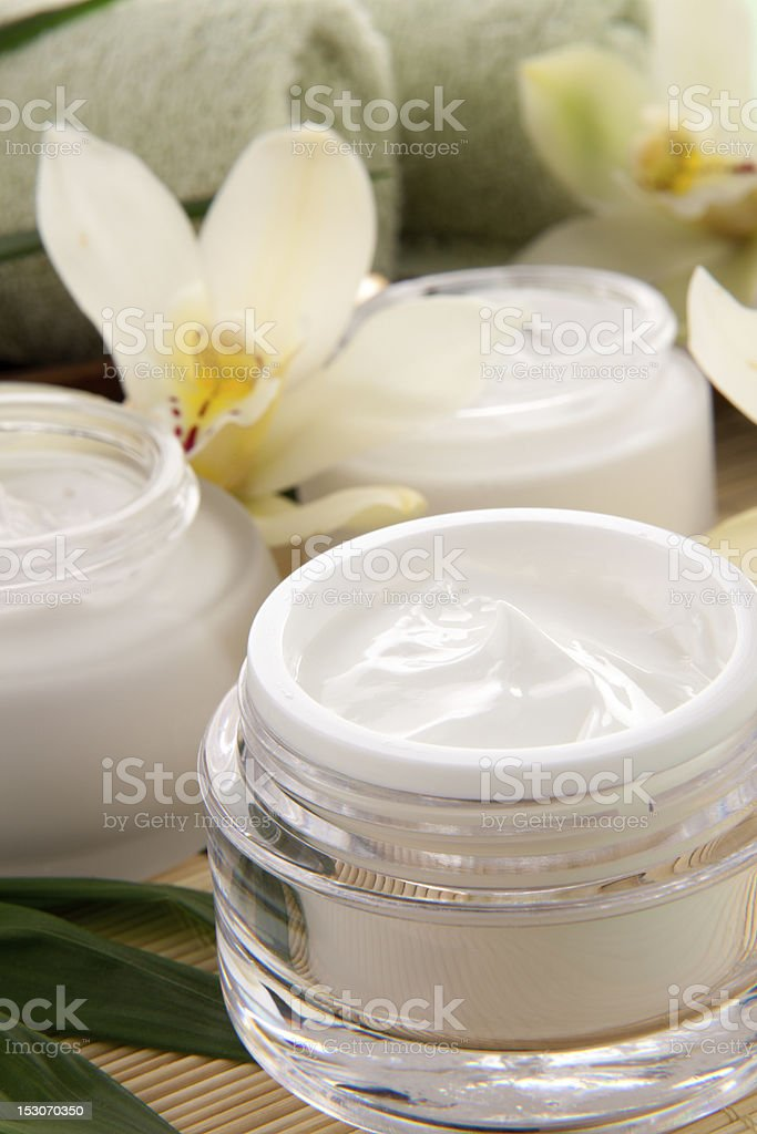 Orchid and Face Cream royalty-free stock photo