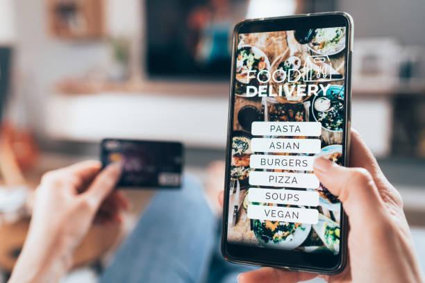 線上訂購食品 - food delivery 個照片及圖片檔