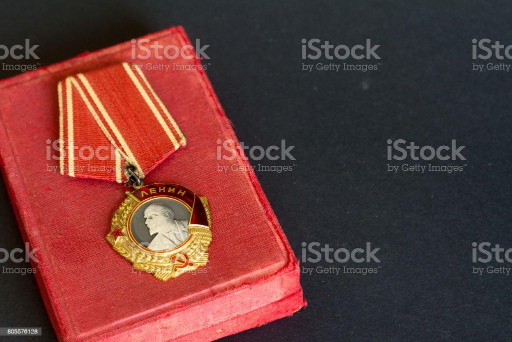 Order of Lenin on black background stock photo