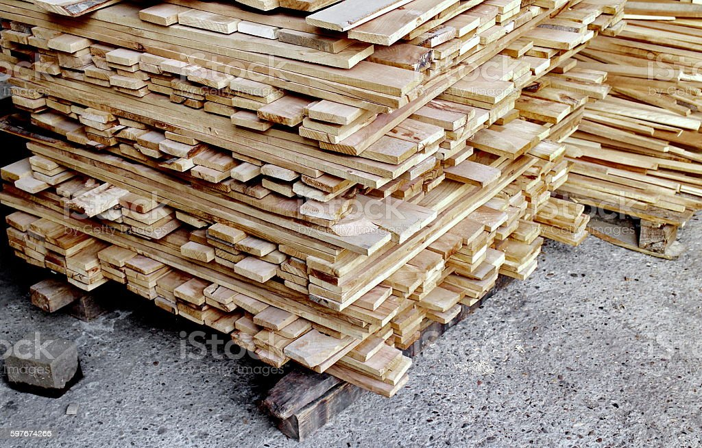 Order wooden planks into a cube stock photo