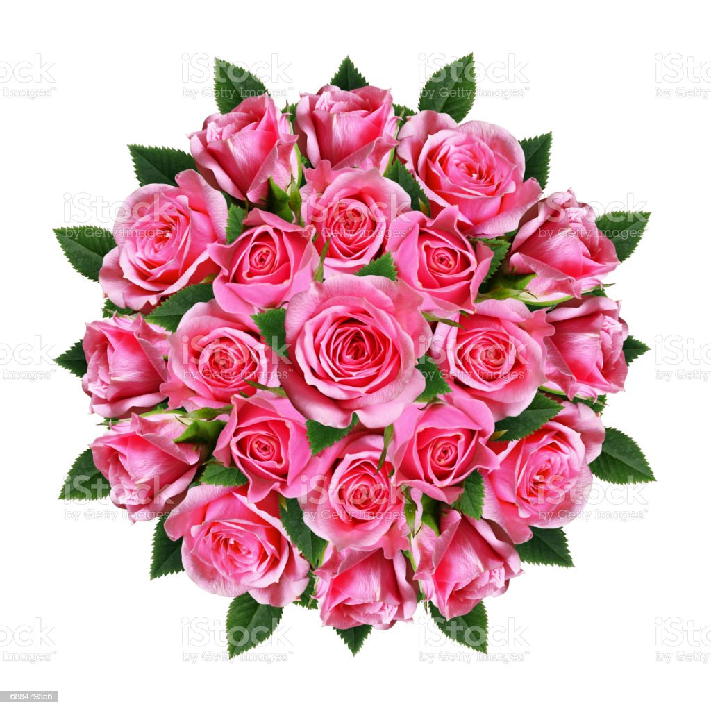 Ordered Round Bouquet Of Pink Rose Flowers And Buds Stock Photo