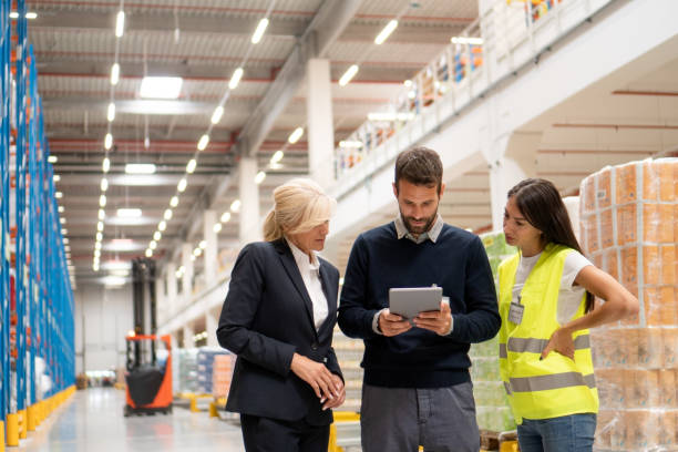 Ordering goods with managers stock photo