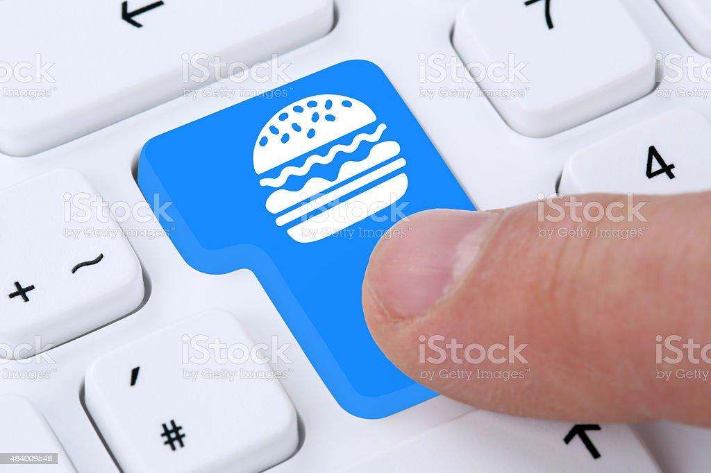 35f3c8622b63eb Bestellen Sie schnell essen hamburger cheeseburger online-Bestellung- Lieferung fastfood Lizenzfreies stock-foto