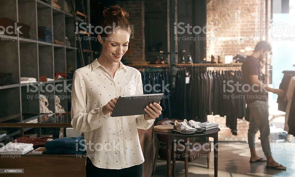 Ordering new stock online is so much easier stock photo