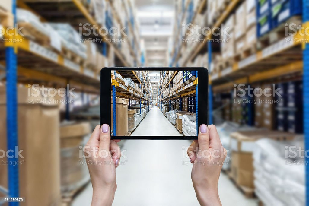 Ordering on-line from a new distribution warehouse stock photo