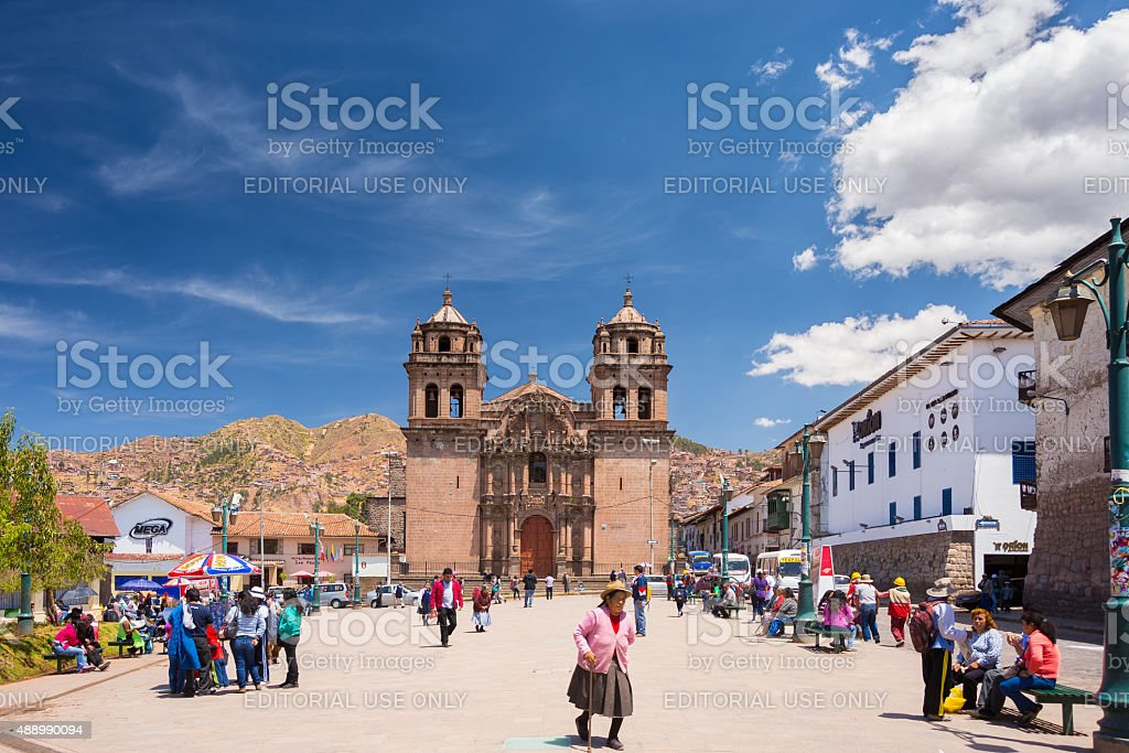 Ordinary life in the streets of Cusco, Peru stock photo