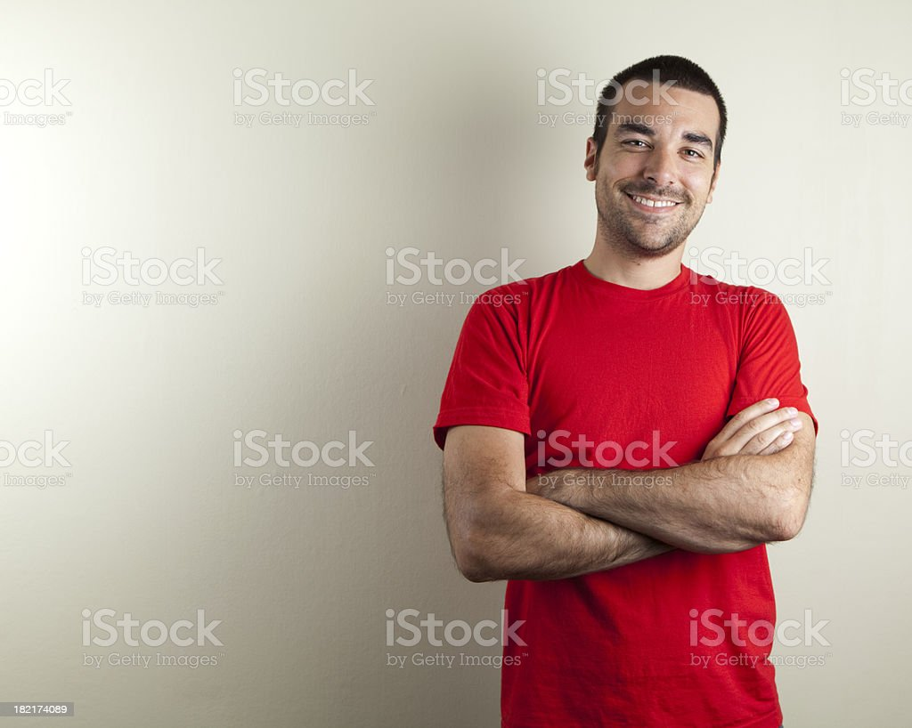 Ordinary man smiling stock photo