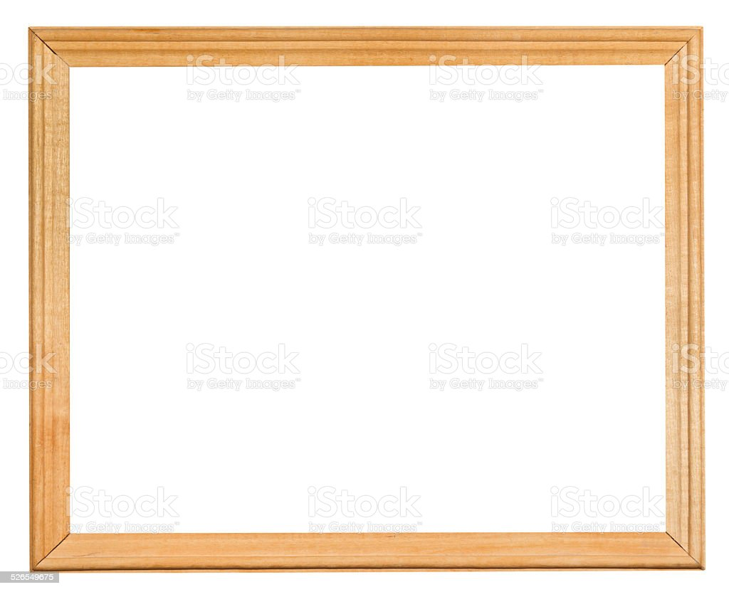 ordinary narrow wooden frame with cut out canvas stock photo