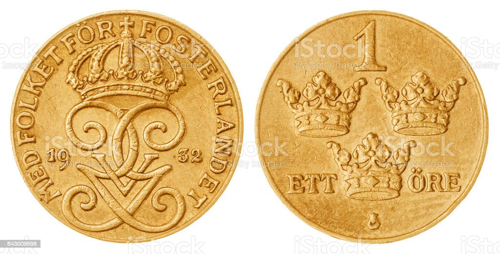 1 ore 1932 coin isolated on white background, Sweden stock photo