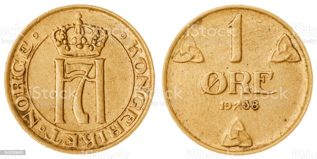 1 ore 1938 coin isolated on white background, Norway stock photo