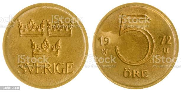 5 ore 1972 coin isolated on white background, Sweden