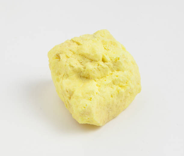 ore sulfur on white background. - zolfo foto e immagini stock