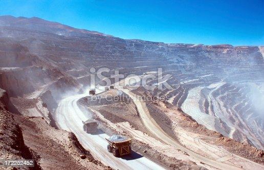 Ore trucks in an open-pit mine. Calama, Atacama desert. North Chile