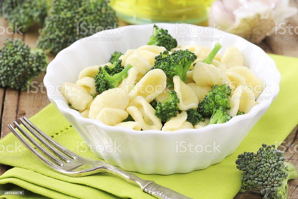 Orecchiette pasta with broccoli stock photo