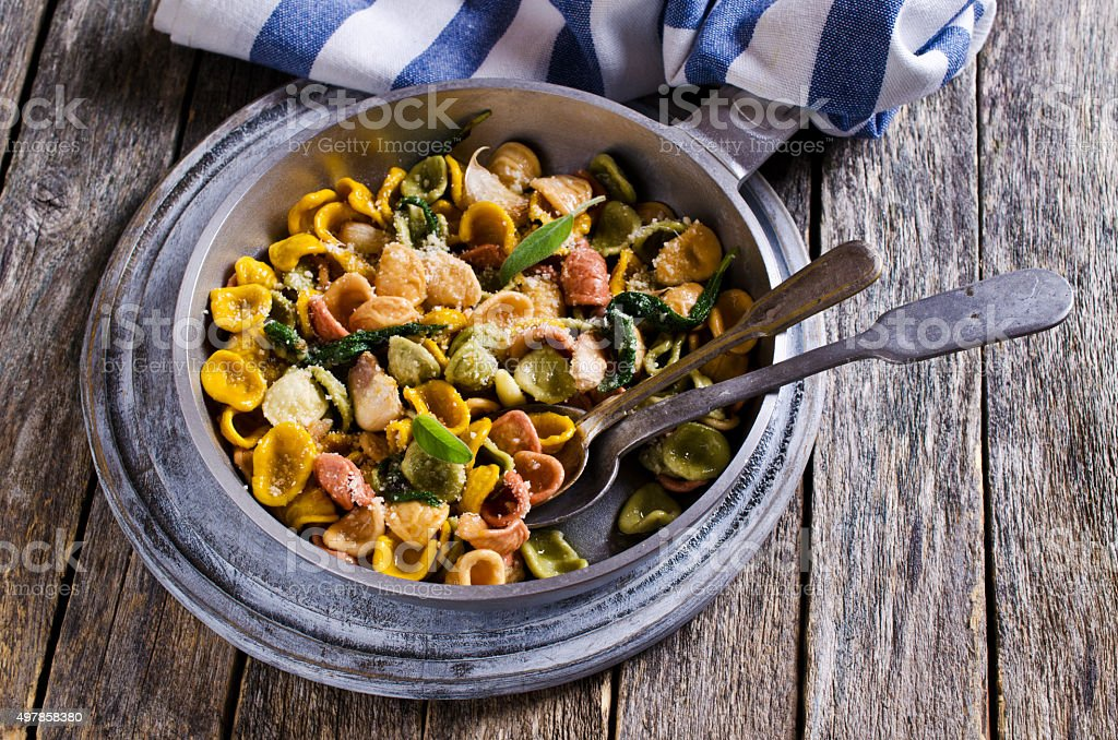 Orecchiette Pasta with garlic and sage stock photo