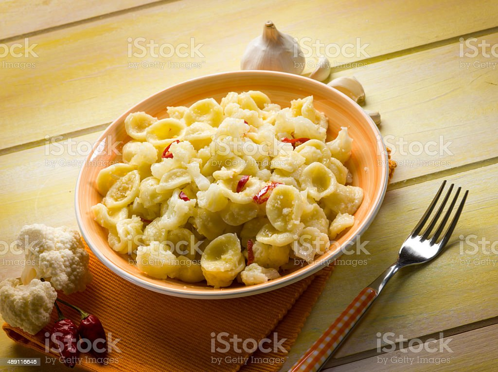 orecchiette with cauliflower stock photo