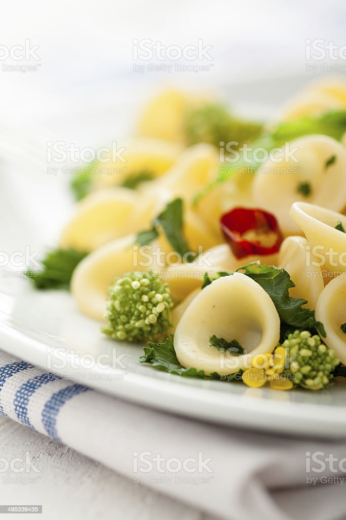 Orecchiette with Cime di Rapa stock photo