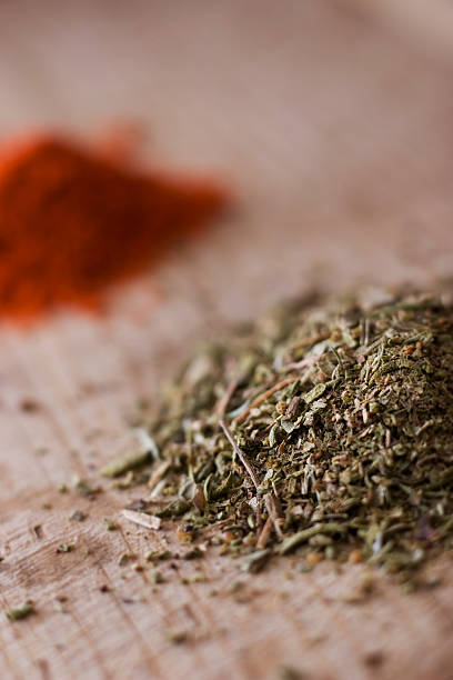 oregano and red pepper stock photo