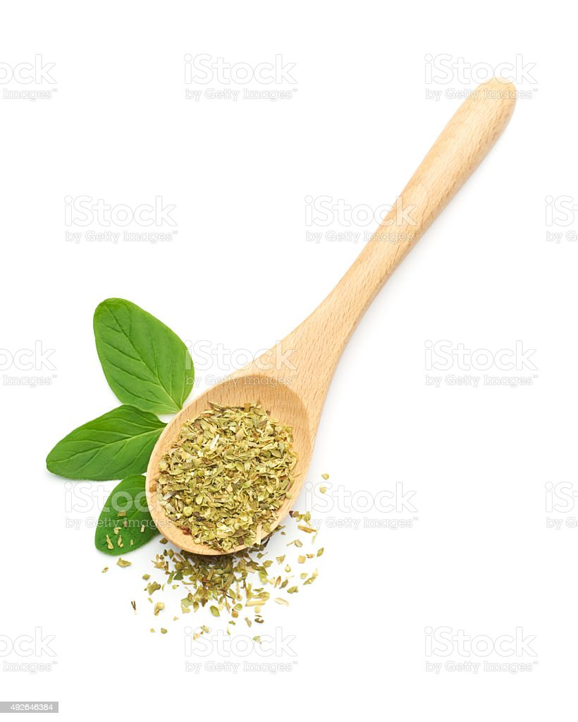 Oregano Leaves and Dried Oregano stock photo
