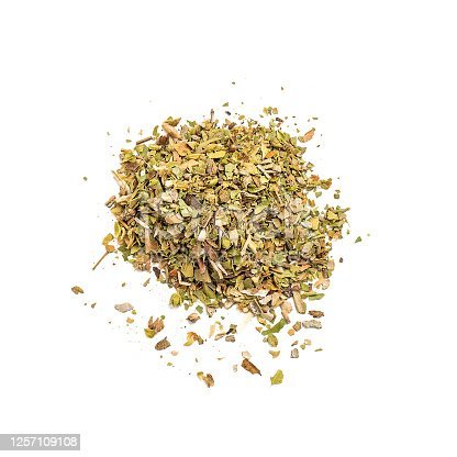 Oregano spice herb isolated on white background. Dried, top view