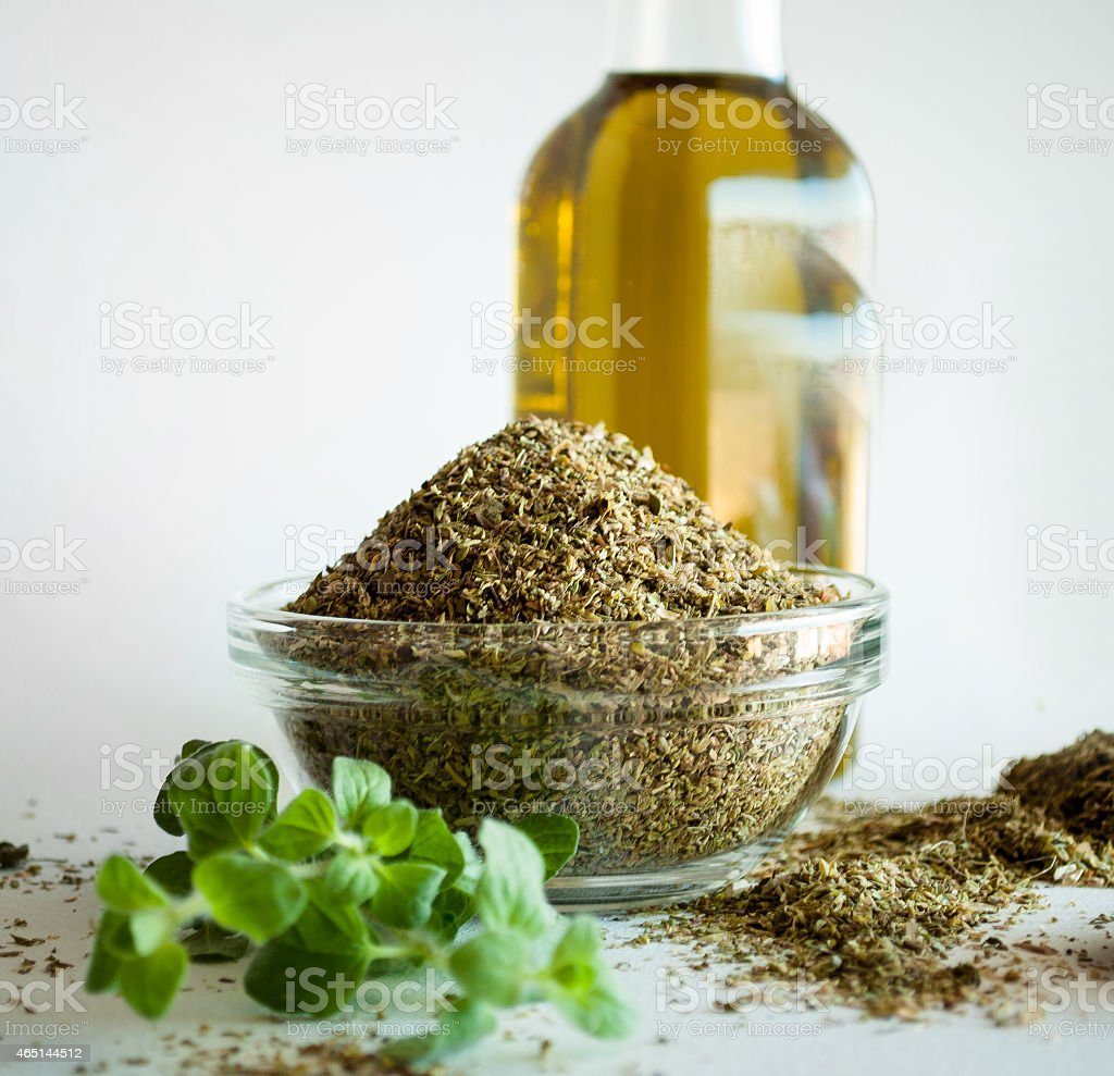 oregano spices and olive oil from greece stock photo
